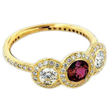 Ritani Endless Love Gold Ruby Three Stone Ring