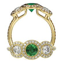 Ritani Endless Love Gold Emerald Three Stone Ring