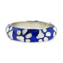 Haggai Blue And White Enamel Sterling Silver Paw Ring