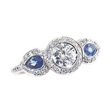 Ritani Endless Love Diamond Ring With Pear Side Stones