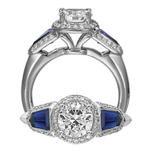 Ritani Masterwork Three Stone Diamond Sapphire Ring