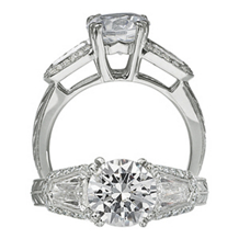 Ritani Modern Three Stone Bullet Cut Diamond Ring