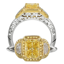 Ritani Modern Emerald Cut Yellow Diamond Ring