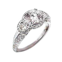 Ritani Modern Three Stone Diamond Engagement Ring