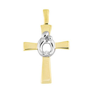 Mother And Child (R) Cross With Diamond