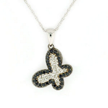 Black and White Diamond Butterfly Pendant