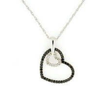 Black and White Double Heart Pendant
