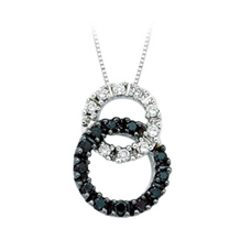 Double Circle Black and White Diamond Pendant