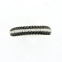 Black and White Diamond Ring Alternating Rows