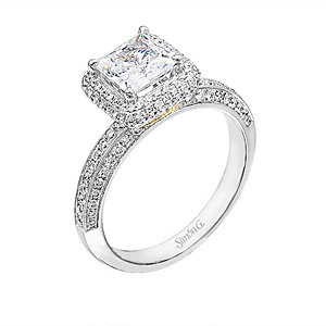 Fabulous Princess Cut Simon G  Diamond Bridal Set