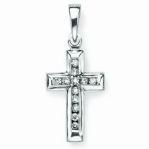 Lovely 14 Karat Gold and Diamond Cross