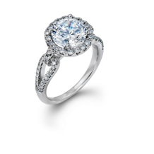 Simon G Split Shank Diamond Engagement Ring