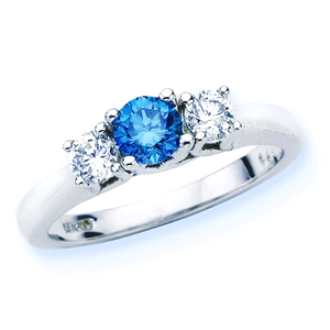 Blue Diamond Three Stone Ring 3/4 ctw