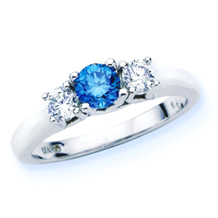 Fabulous Blue Diamond Three Stone Ring