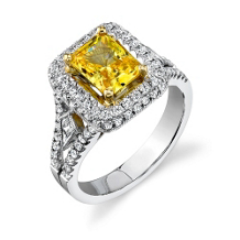 Simon G Emerald Cut Yellow Diamond Ring