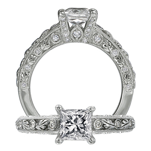 Ritani Romantique Princess Cut Diamond Engagement Ring