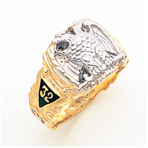 Open Back Two-Tone Gold Scottish Rite Masonic Ring 10K