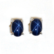 Star Sapphire Earrings 14kt White Gold