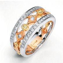 Simon G. Tri-Color Gold and Diamond Band