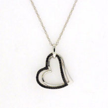 Elegant Dual Heart Treated Black Diamond Pendant
