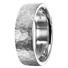 Stylish Hammered Finish Mens Wedding Band by Ritani