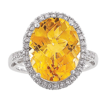 Elegant Citrine Diamond Ring