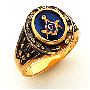 Classic Solid Back Blue Lodge Mason Ring 14k Gold
