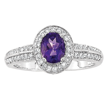 Elegant Amethyst Diamond Ring