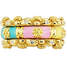 Stunning Pastel 18K Gold and Enamel Ring by Hidalgo