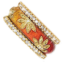 Hidalgo 18 Karat and Enamel Fashion Ring
