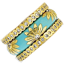 Lovely Floral Pattern Gold and Enamel Ring by Hidalgo