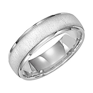Lieberfarb Mens 6mm Wide White Gold Wedding Ring