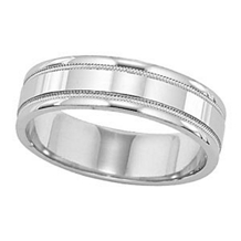 Lieberfarb Mens Wedding Band in 14k White Gold