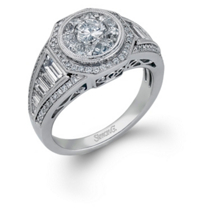 Simon G Mosaic Diamond Engagement Ring