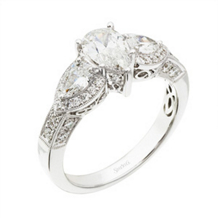 Elegant Simon G. Pear Shaped Diamond Engagement Ring