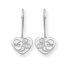 14k White Gold Mickey Mouse Dangle Earrings