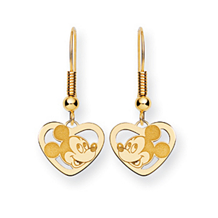 14k Disney Mickey Heart Dangle Wire Earrings
