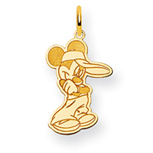 Sporty Mickey Mouse Charm in 14k Yellow Gold