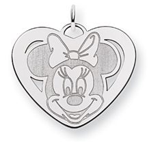 Beautiful Minnie Mouse Heart Charm in 14k White Gold