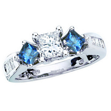 Elegant 1 Carat Three Stone Blue Diamond Ring