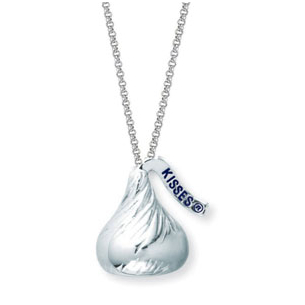 Lovely Large Hershey Kiss Silver Necklace