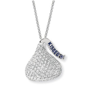 Stunning Extra Large Diamond Hershey Kiss Necklace