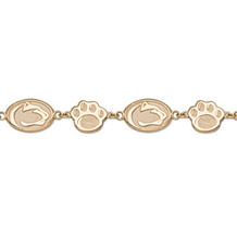 14K Gold PSU Lion Head and Paw Bracelet