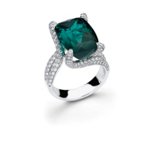 Beautiful Simon G. Green Tourmaline and Diamond Ring