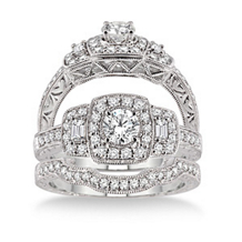 Elegant 7/8 Carat Diamond Wedding Set