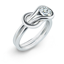 Everlon 1/4 Carat Diamond Knot Ring 14Kt White Gold