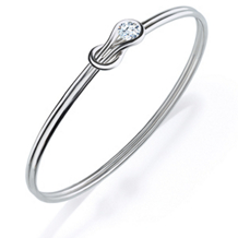 Everlon Diamond Knot Bangle in Sterling Silver