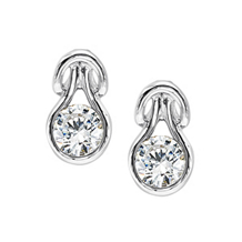 Stunning Everlon Diamond Knot 14K White Gold Earrings