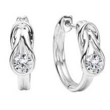 Stunning Everlon Diamond Knot Earrings Sterling Silver