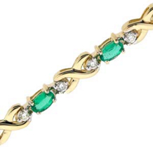 Elegant Oval Emerald and Diamond Bracelet